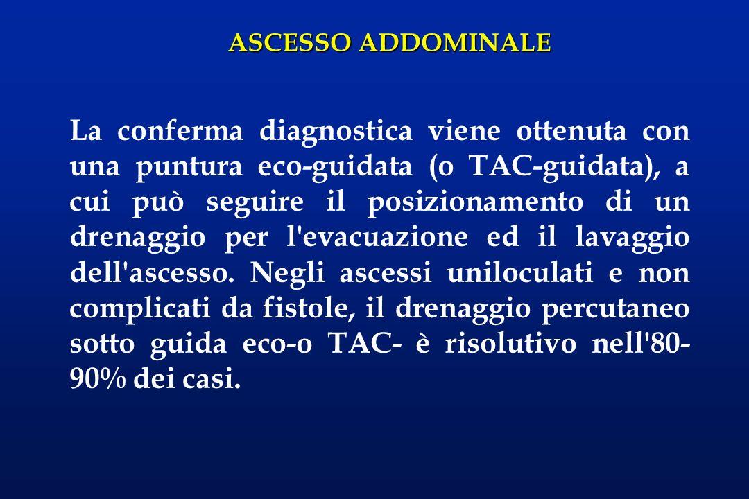 La conferma diagnostica viene ottenuta con una puntura eco-guidata (o TAC-guidata), a cui può seguire il posizionamento di un drenaggio per l evacuazione ed il lavaggio dell ascesso.