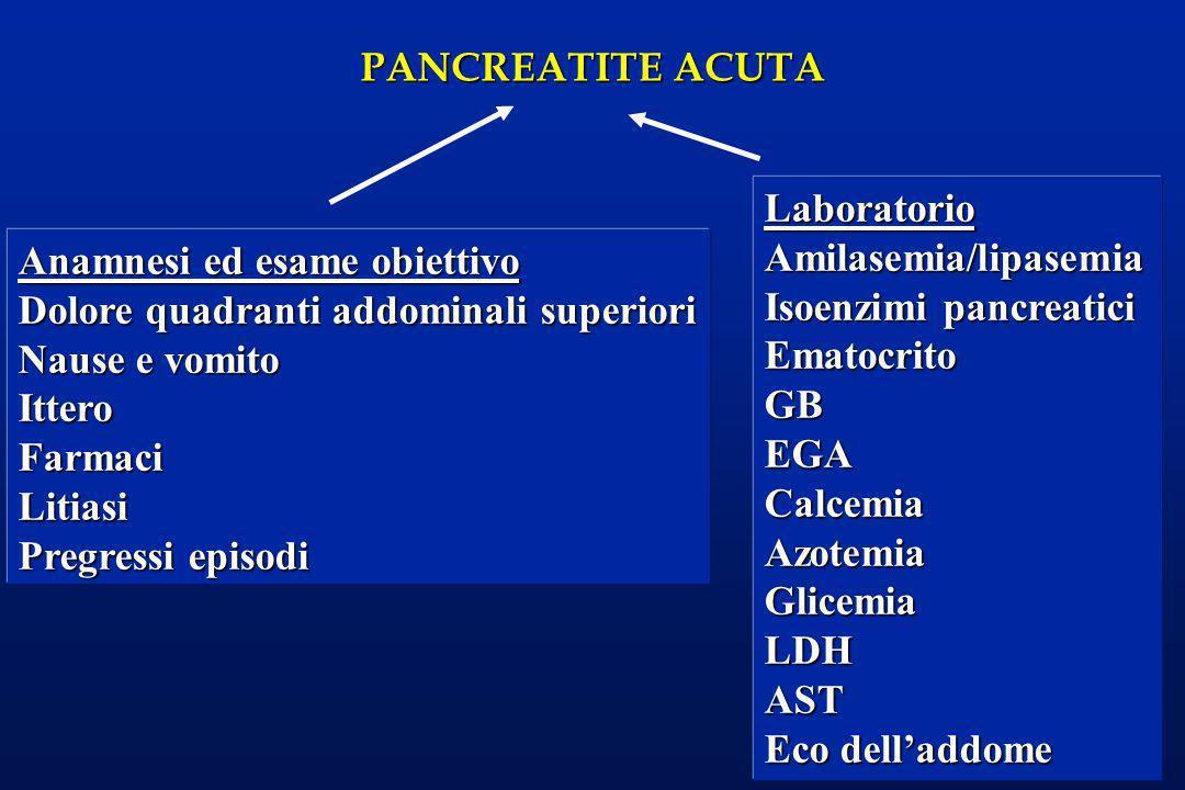 Laboratorio Amilasemia/lipasemia. Isoenzimi pancreatici. Ematocrito. GB. EGA. Calcemia. Azotemia.