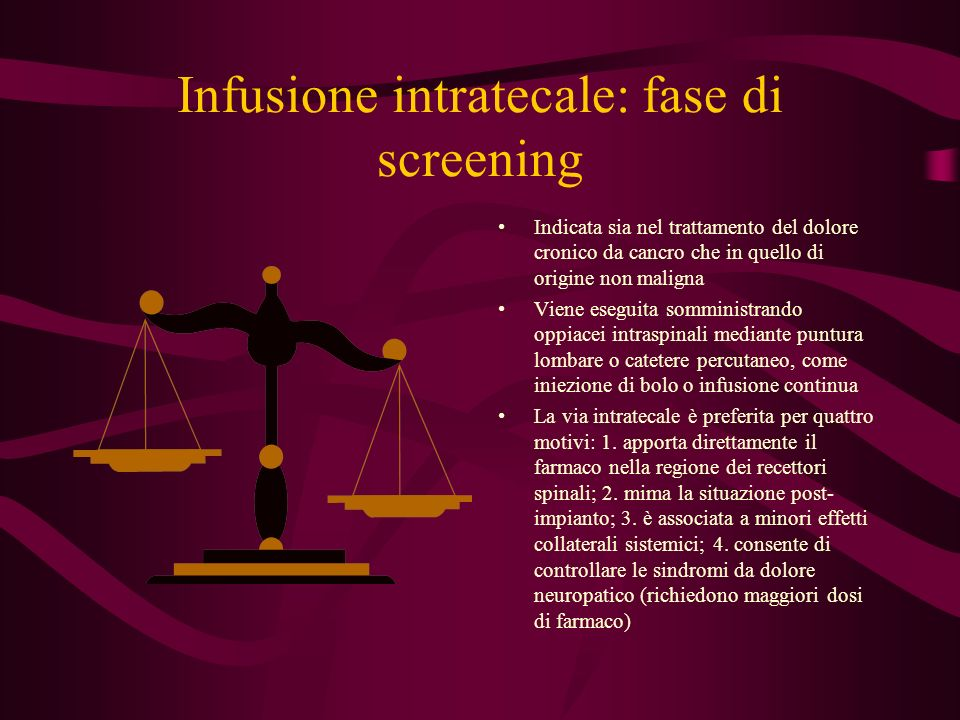 Infusione intratecale: fase di screening