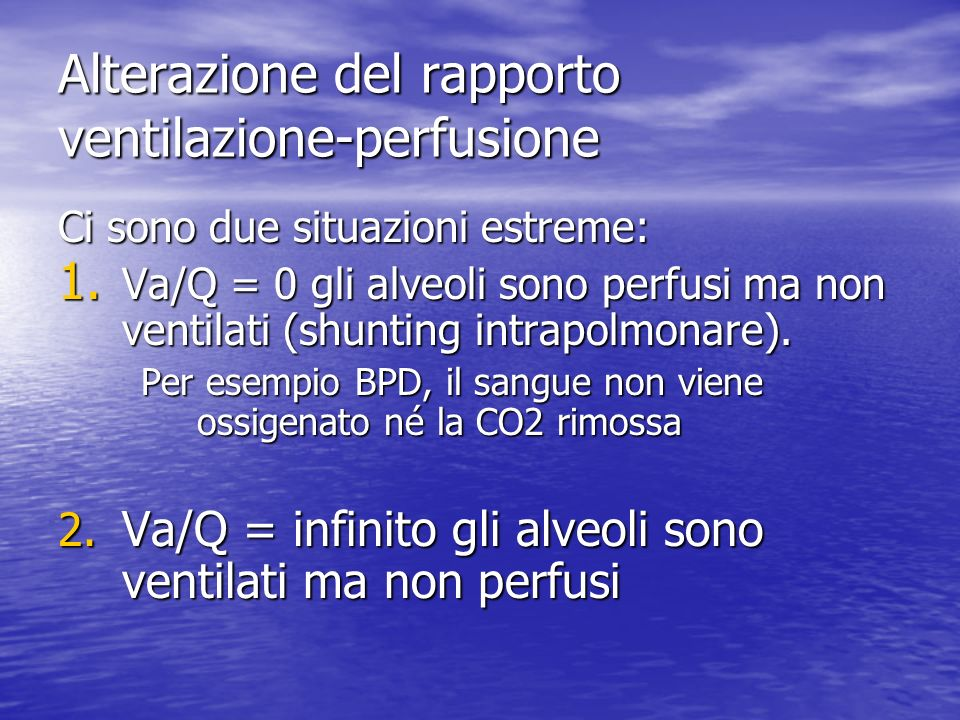 Alterazione del rapporto ventilazione-perfusione
