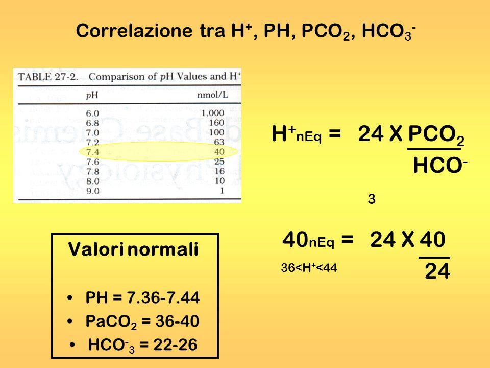 Correlazione tra H+, PH, PCO2, HCO3-