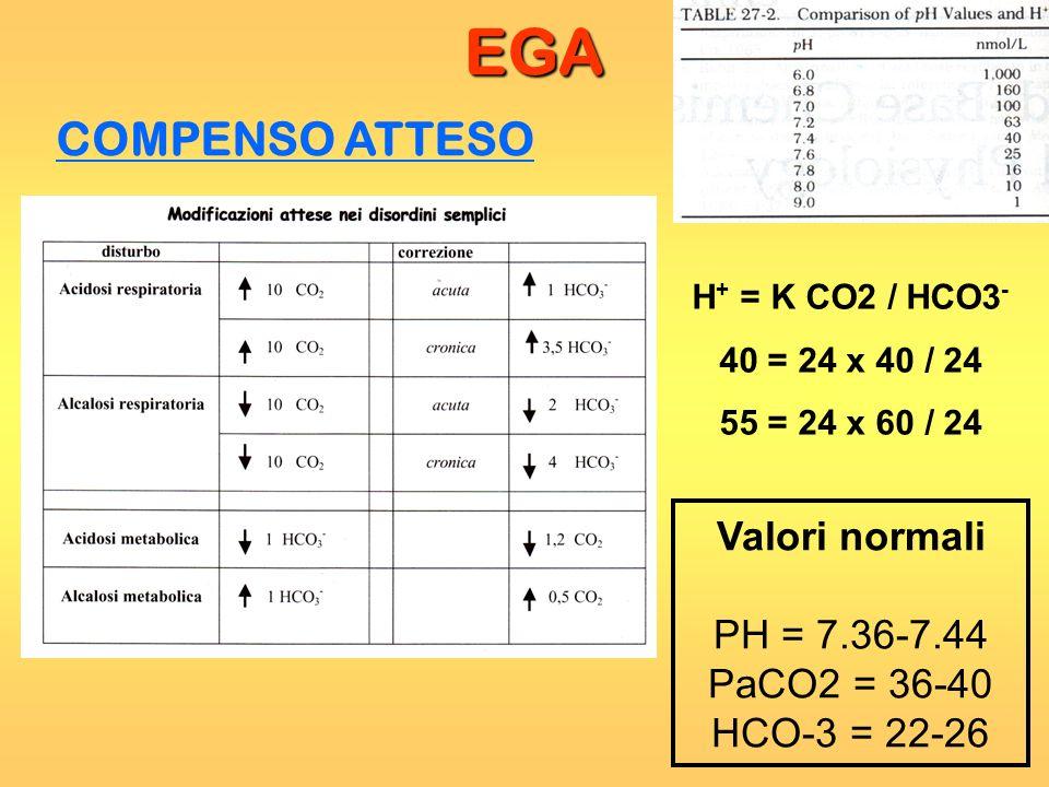 EGA COMPENSO ATTESO Valori normali PH = 7.36-7.44 PaCO2 = 36-40