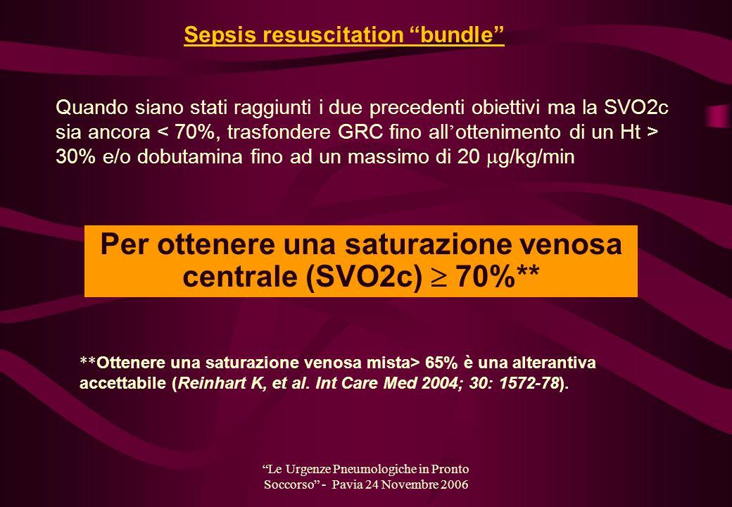Per ottenere una saturazione venosa centrale (SVO2c)  70%**