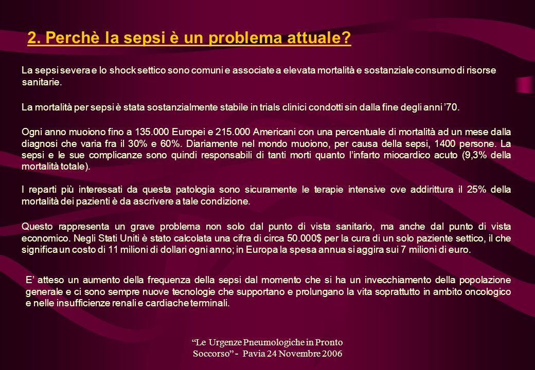 Le Urgenze Pneumologiche in Pronto Soccorso - Pavia 24 Novembre 2006