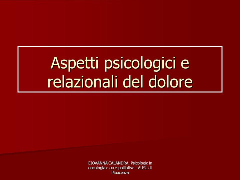 Aspetti psicologici e relazionali del dolore