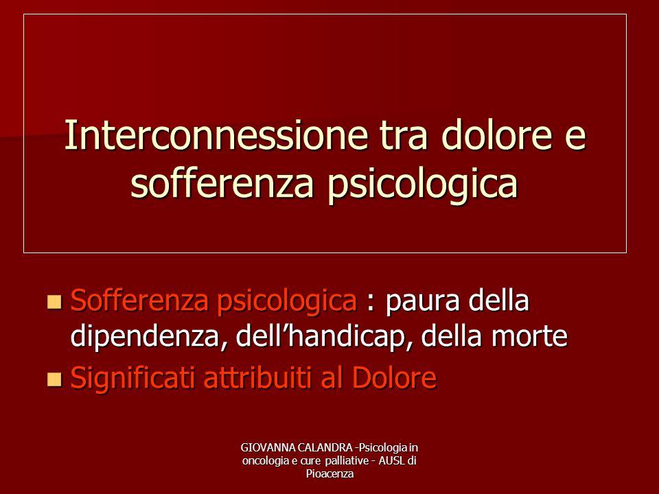 Interconnessione tra dolore e sofferenza psicologica