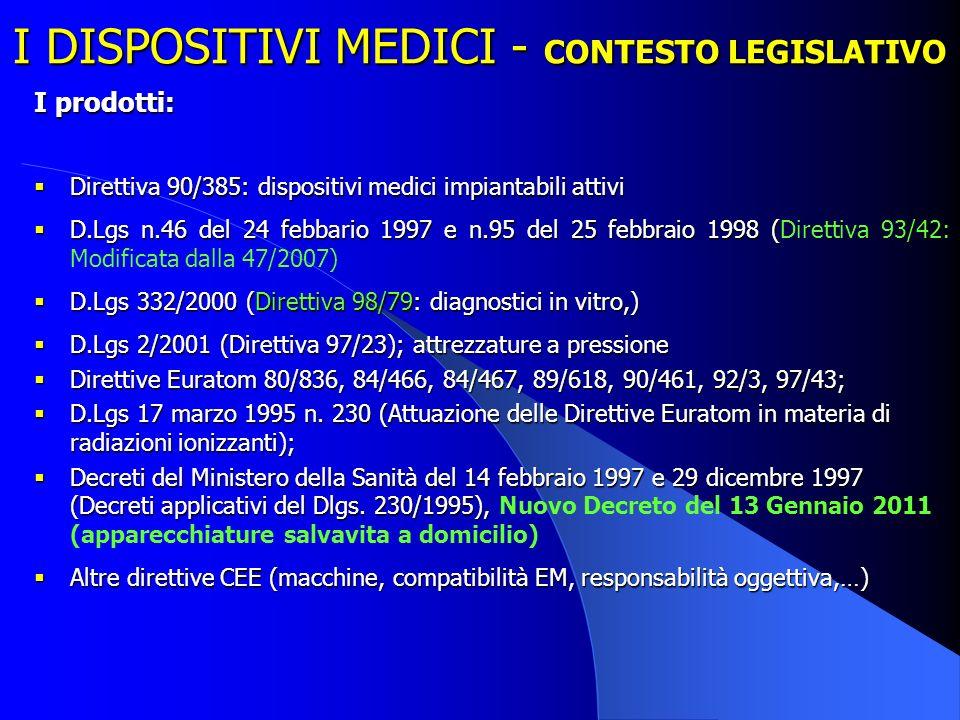 I DISPOSITIVI MEDICI - CONTESTO LEGISLATIVO
