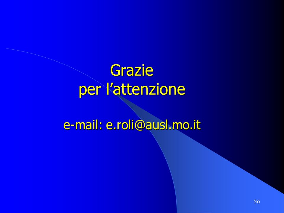 Grazie per l'attenzione e-mail: e.roli@ausl.mo.it