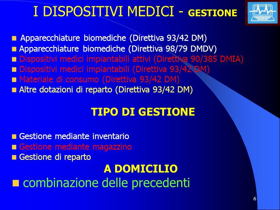 I DISPOSITIVI MEDICI - GESTIONE