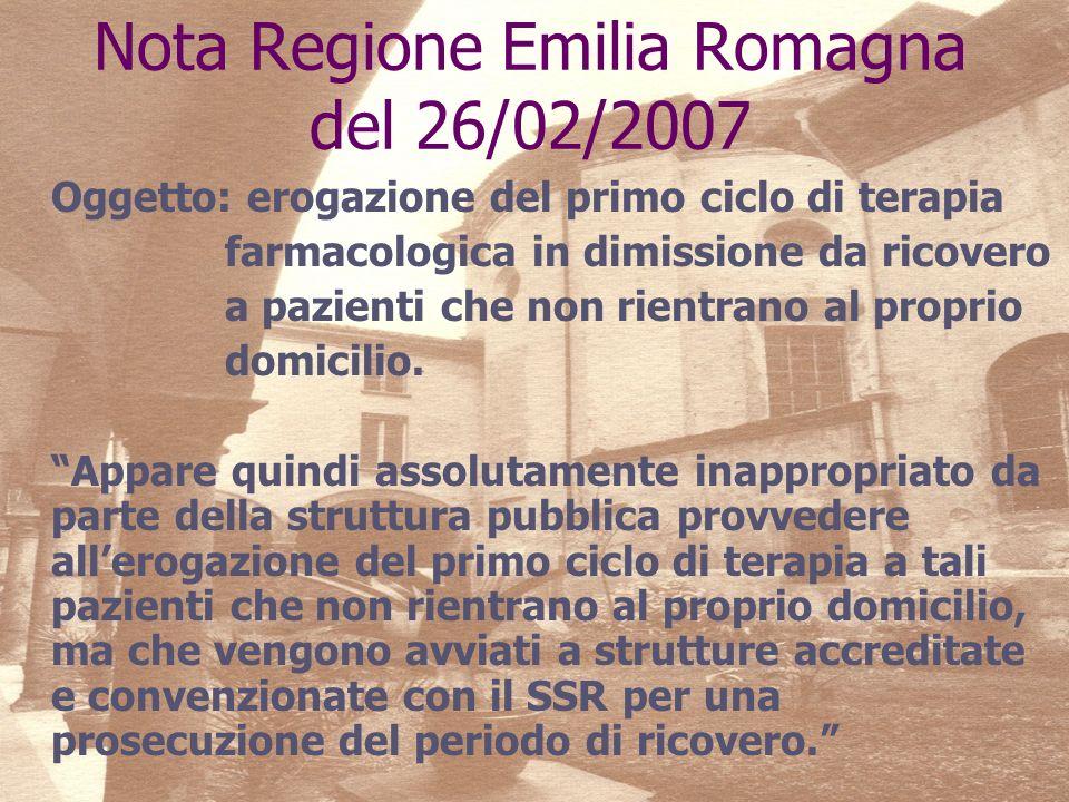 Nota Regione Emilia Romagna del 26/02/2007