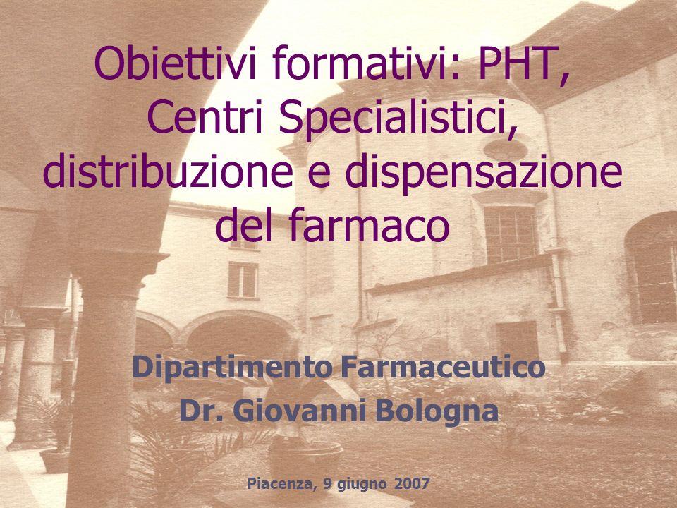 Dipartimento Farmaceutico Dr. Giovanni Bologna Piacenza, 9 giugno 2007