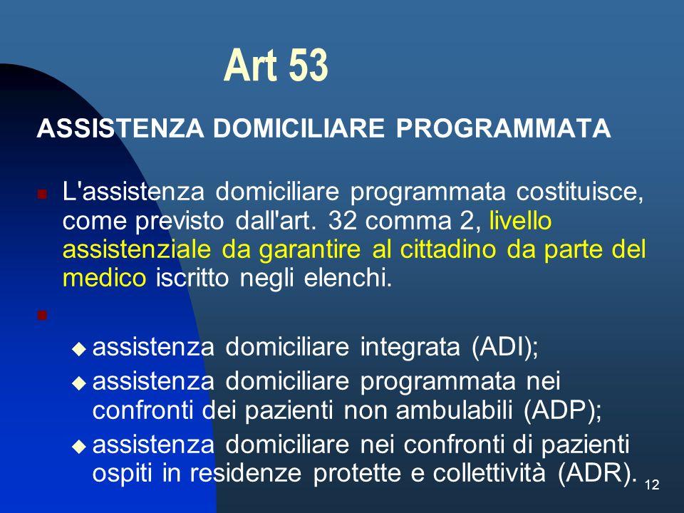 Art 53 ASSISTENZA DOMICILIARE PROGRAMMATA