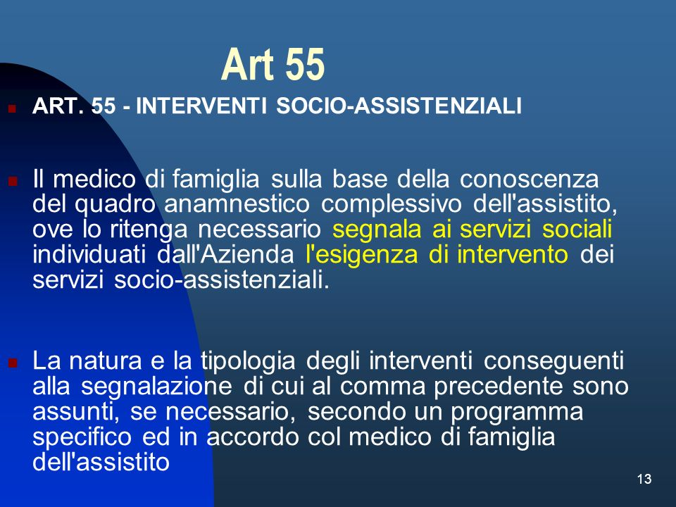 Art 55 ART. 55 - INTERVENTI SOCIO-ASSISTENZIALI.