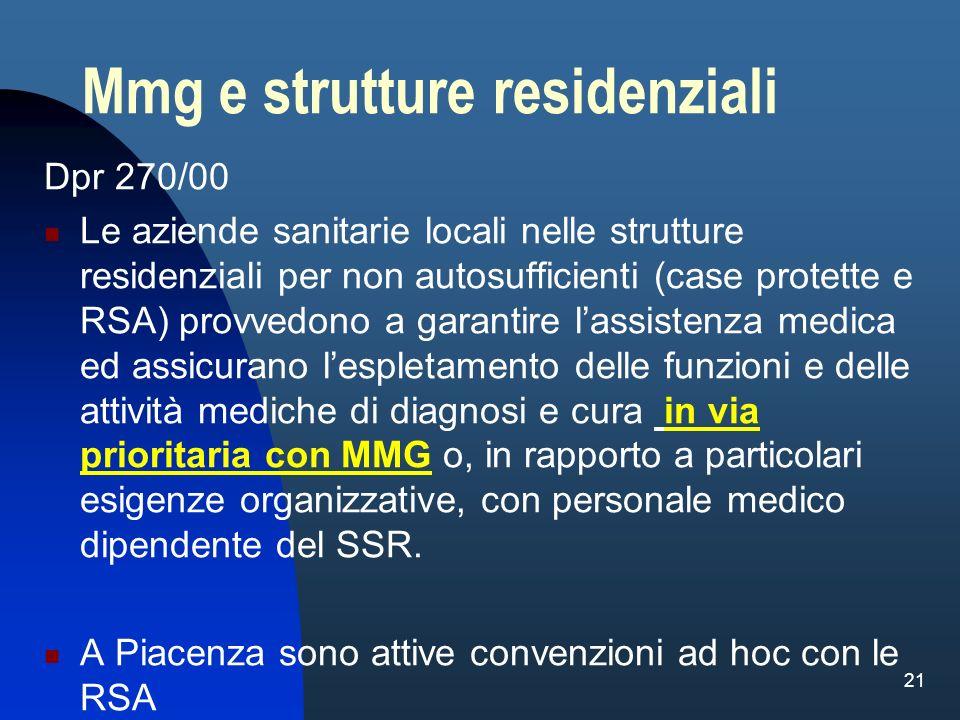 Mmg e strutture residenziali