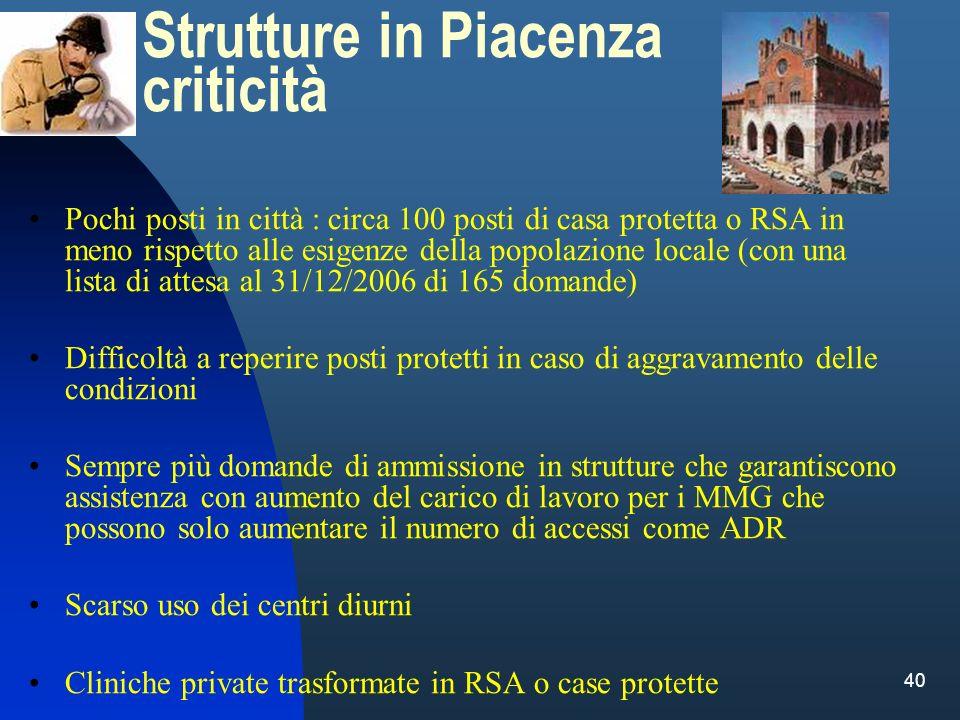 Strutture in Piacenza criticità