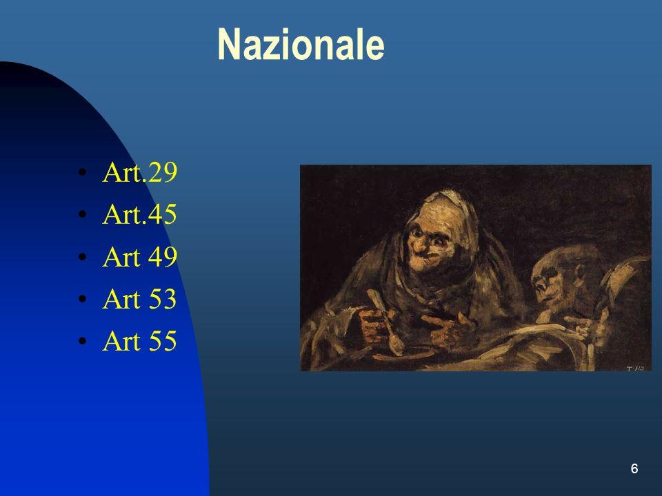Nazionale Art.29 Art.45 Art 49 Art 53 Art 55