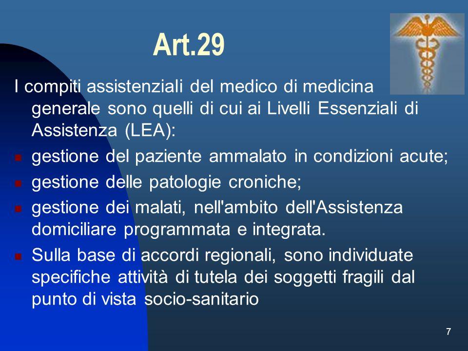 Art.29 I compiti assistenziali del medico di medicina generale sono quelli di cui ai Livelli Essenziali di Assistenza (LEA):