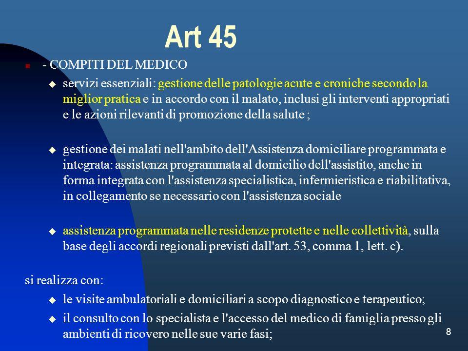 Art 45 - COMPITI DEL MEDICO