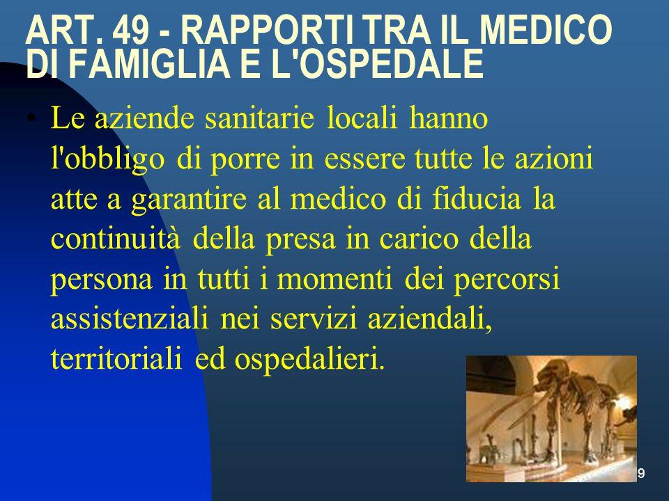 ART. 49 - RAPPORTI TRA IL MEDICO DI FAMIGLIA E L OSPEDALE