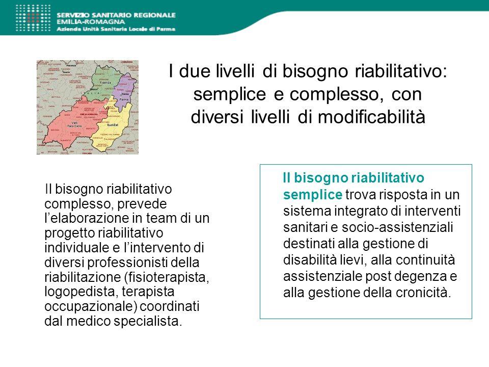 I due livelli di bisogno riabilitativo: semplice e complesso, con diversi livelli di modificabilità