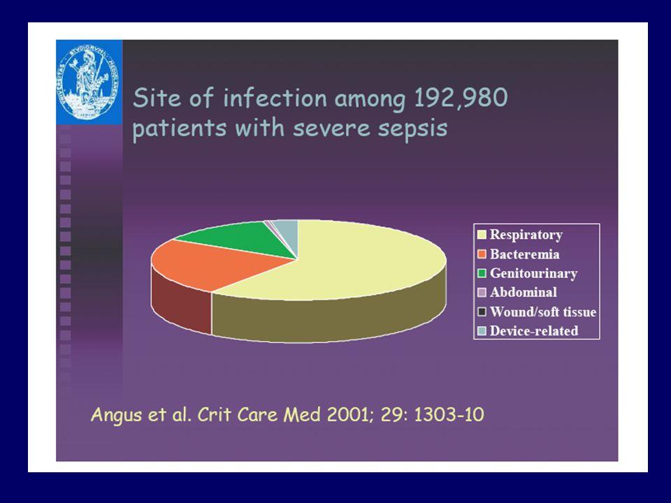 quali sono le prinicipali sedi di infezione tratto respiratorio batteriemie addome