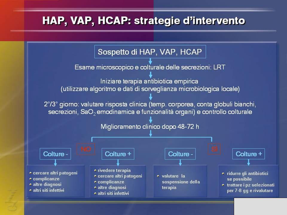 Il trattamento empirico di una HAP, VAP e HCAP deve essere guidato da alcune considerazioni: