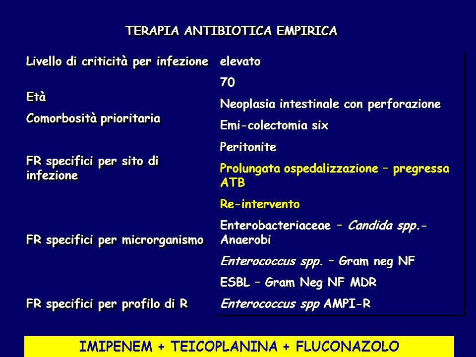 TERAPIA ANTIBIOTICA EMPIRICA IMIPENEM + TEICOPLANINA + FLUCONAZOLO