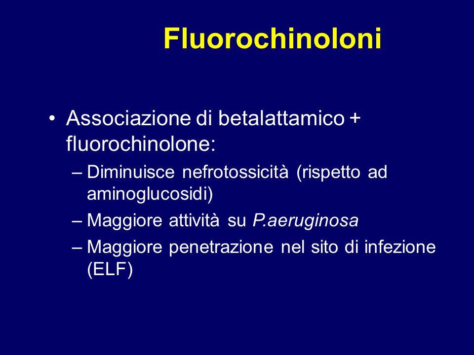 Fluorochinoloni Associazione di betalattamico + fluorochinolone: