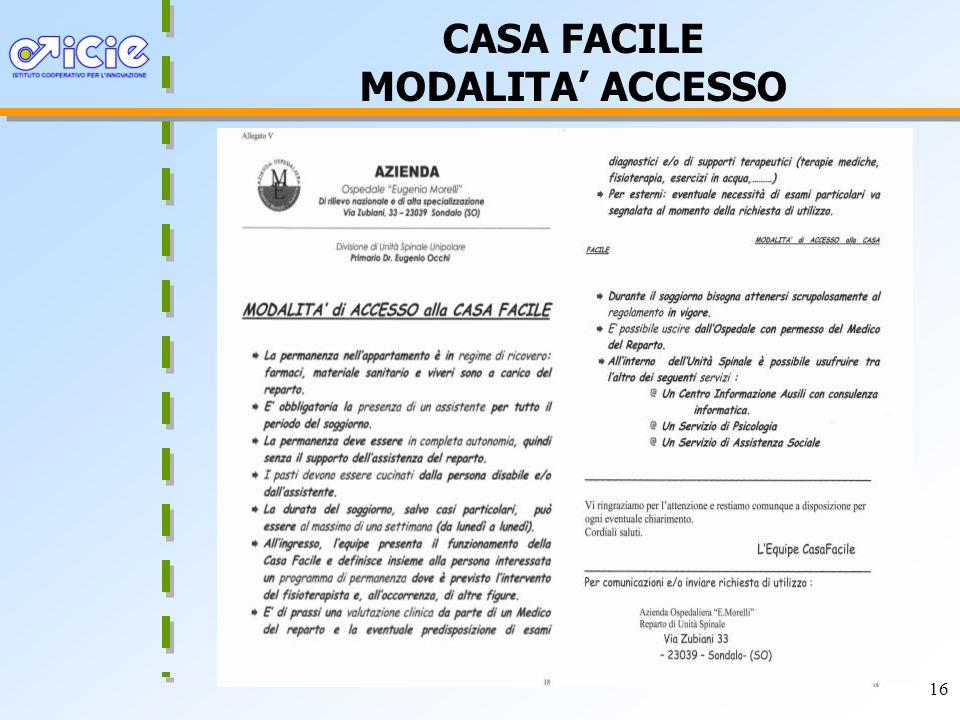 CASA FACILE MODALITA' ACCESSO