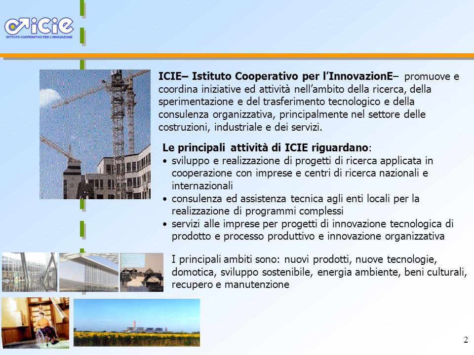ICIE– Istituto Cooperativo per l'InnovazionE– promuove e coordina iniziative ed attività nell'ambito della ricerca, della sperimentazione e del trasferimento tecnologico e della consulenza organizzativa, principalmente nel settore delle costruzioni, industriale e dei servizi.