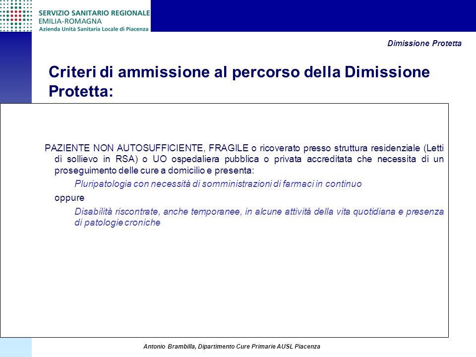 Criteri di ammissione al percorso della Dimissione Protetta: