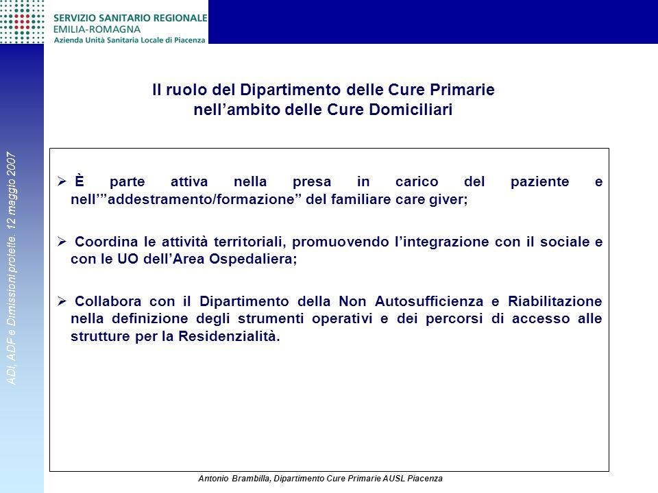 Il ruolo del Dipartimento delle Cure Primarie nell'ambito delle Cure Domiciliari