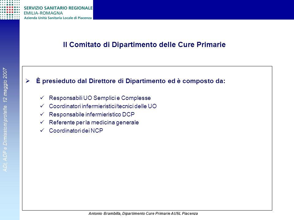 Il Comitato di Dipartimento delle Cure Primarie