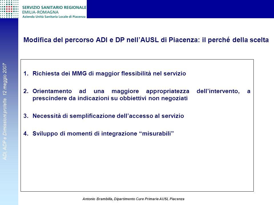 Modifica del percorso ADI e DP nell'AUSL di Piacenza: il perché della scelta
