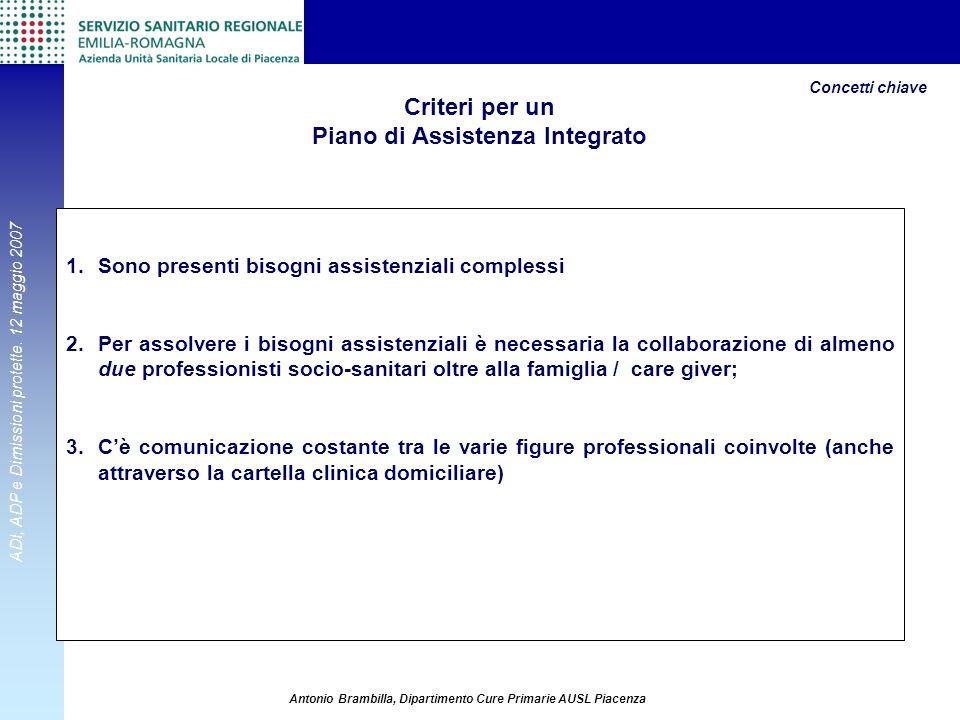 Criteri per un Piano di Assistenza Integrato