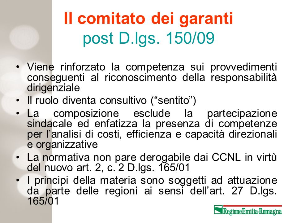 Il comitato dei garanti post D.lgs. 150/09