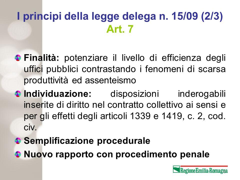 I principi della legge delega n. 15/09 (2/3) Art. 7