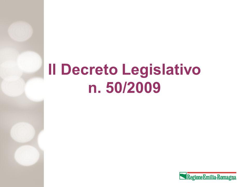 Il Decreto Legislativo n. 50/2009