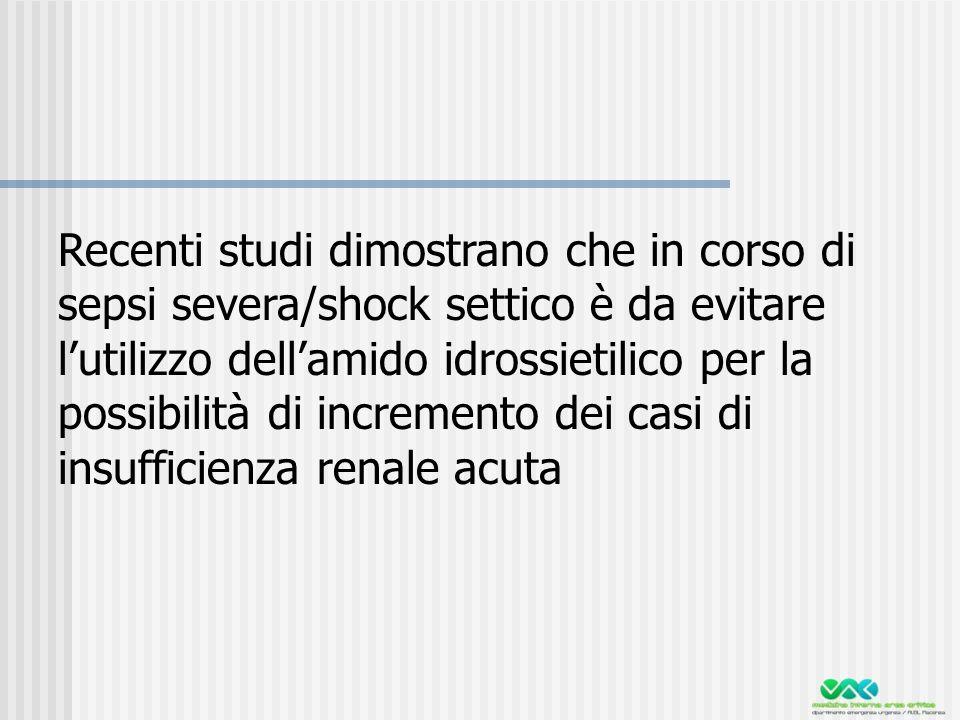 Recenti studi dimostrano che in corso di sepsi severa/shock settico è da evitare l'utilizzo dell'amido idrossietilico per la possibilità di incremento dei casi di insufficienza renale acuta