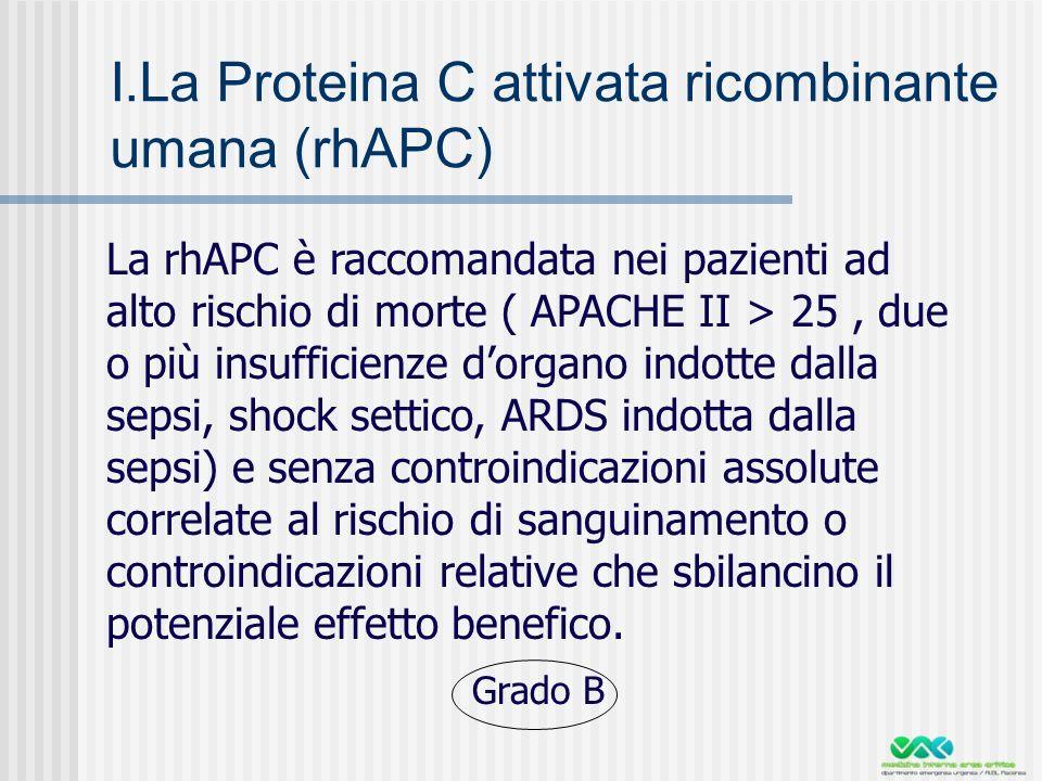 I.La Proteina C attivata ricombinante umana (rhAPC)