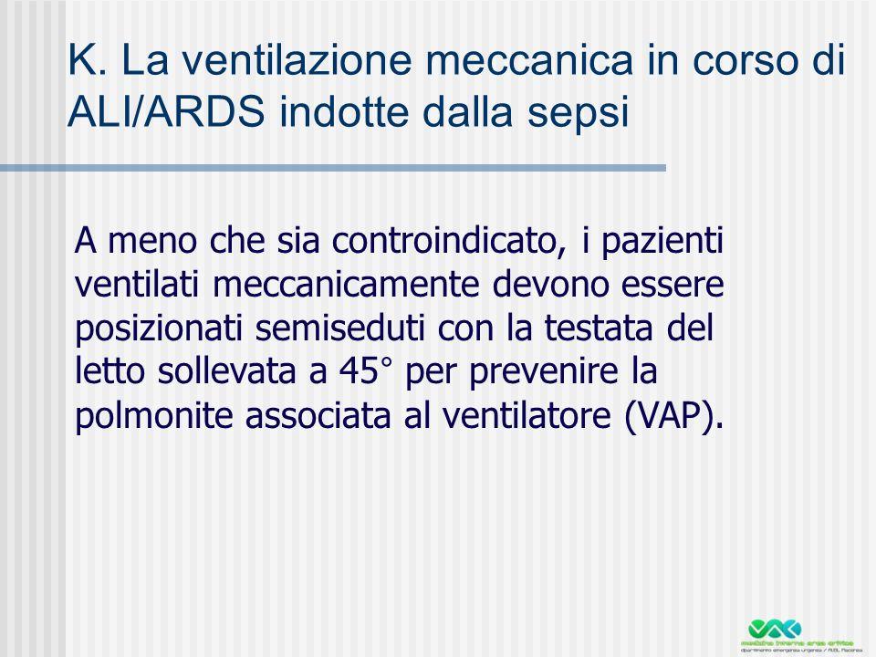 K. La ventilazione meccanica in corso di ALI/ARDS indotte dalla sepsi