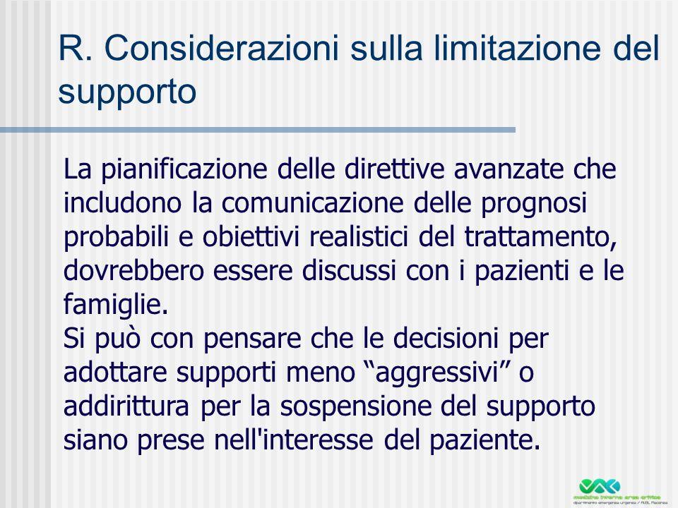 R. Considerazioni sulla limitazione del supporto