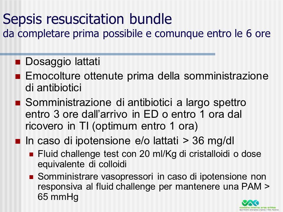 Sepsis resuscitation bundle da completare prima possibile e comunque entro le 6 ore