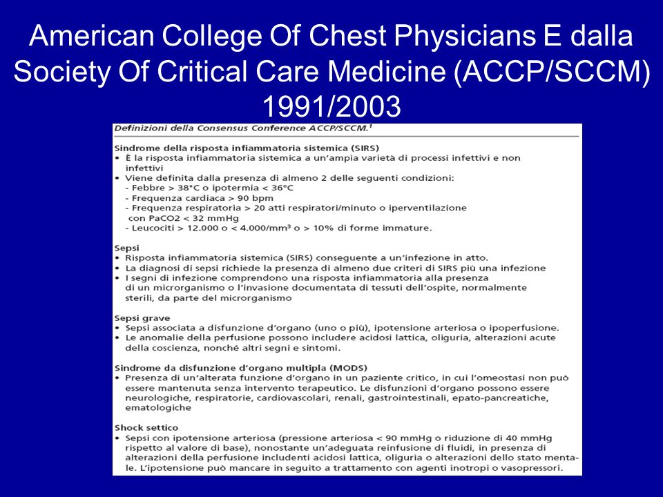 American College Of Chest Physicians E dalla Society Of Critical Care Medicine (ACCP/SCCM) 1991/2003