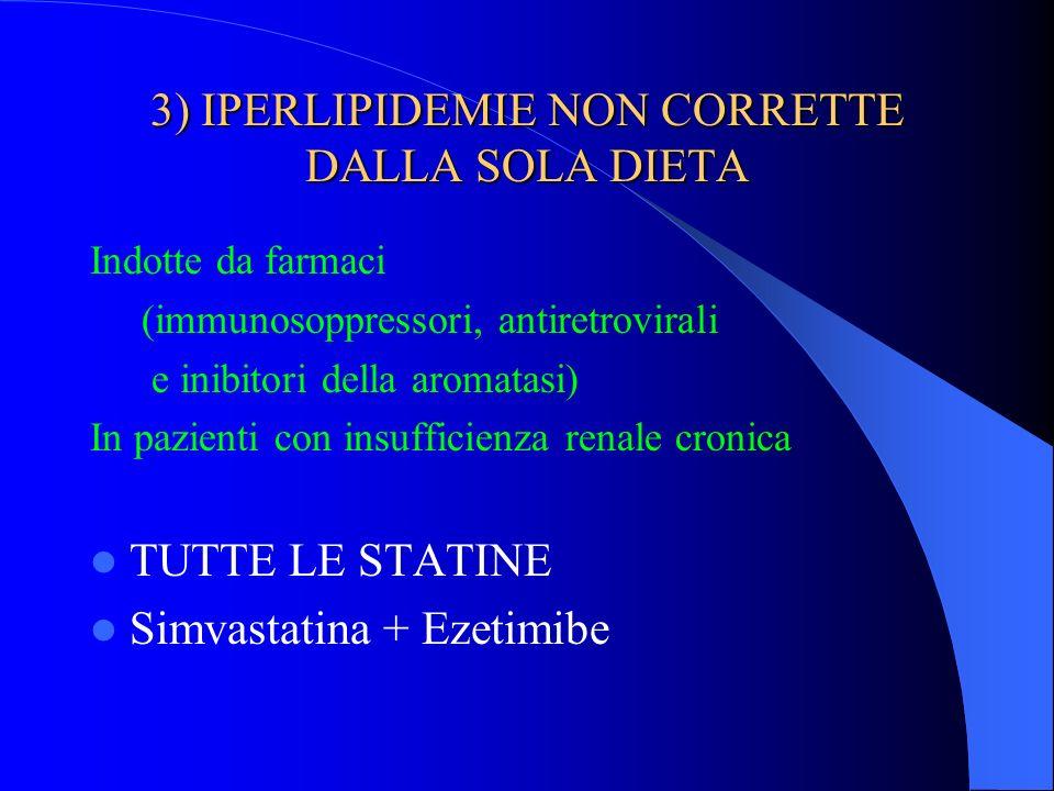 3) IPERLIPIDEMIE NON CORRETTE DALLA SOLA DIETA