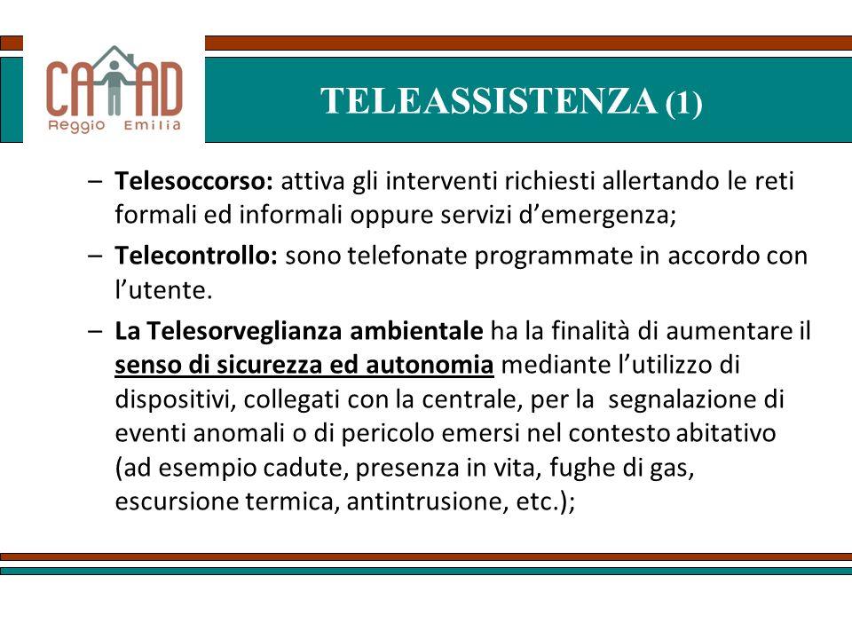 TELEASSISTENZA (1) Telesoccorso: attiva gli interventi richiesti allertando le reti formali ed informali oppure servizi d'emergenza;