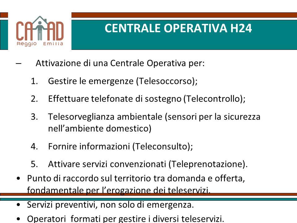 CENTRALE OPERATIVA H24 Attivazione di una Centrale Operativa per: