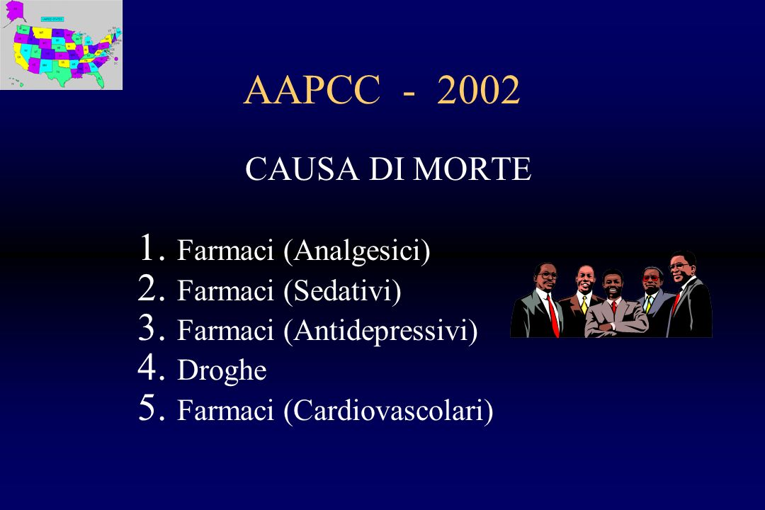 AAPCC - 2002 CAUSA DI MORTE Farmaci (Analgesici) Farmaci (Sedativi)