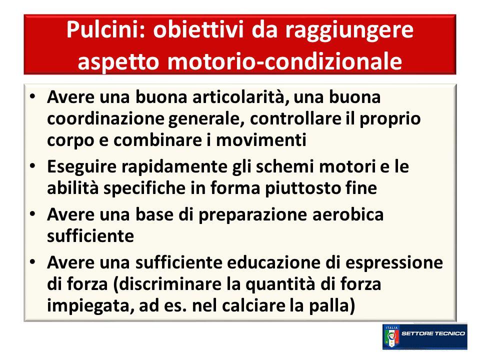 Pulcini: obiettivi da raggiungere aspetto motorio-condizionale