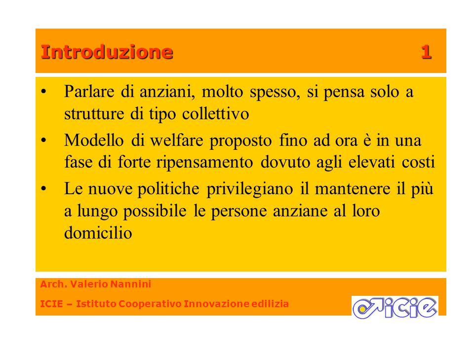 Introduzione 1 Parlare di anziani, molto spesso, si pensa solo a strutture di tipo collettivo.